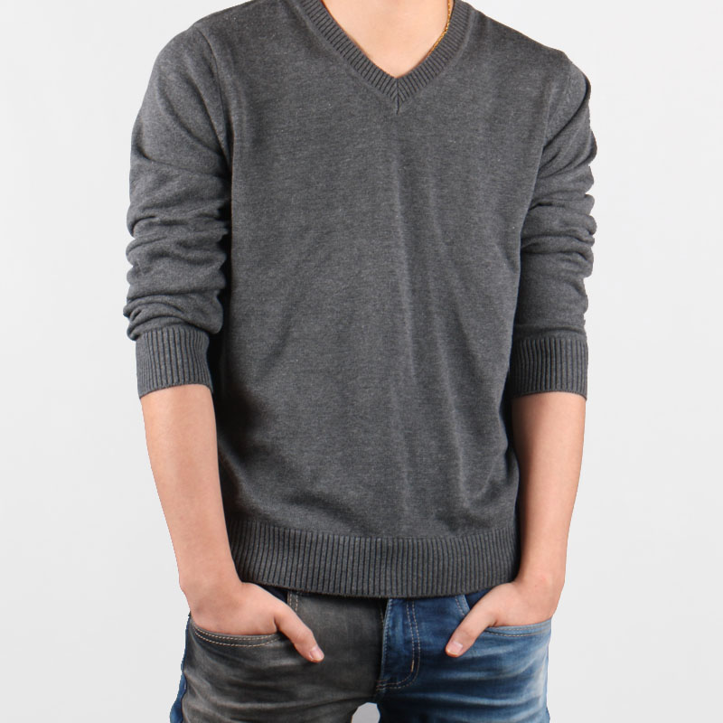 2019 spring mens Korean spring casual cotton knitwear V-neck solid color thin sweater plus fat plus plus size