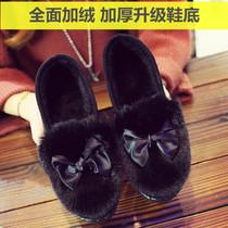 秋冬季加绒保暖平底毛毛棉鞋工作鞋低帮豆豆鞋老北京布鞋女棉鞋