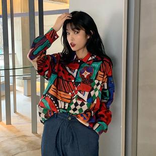 2019新款韓版原宿風怪味少女bf長袖襯衫寬鬆ins復古印花襯衣上衣