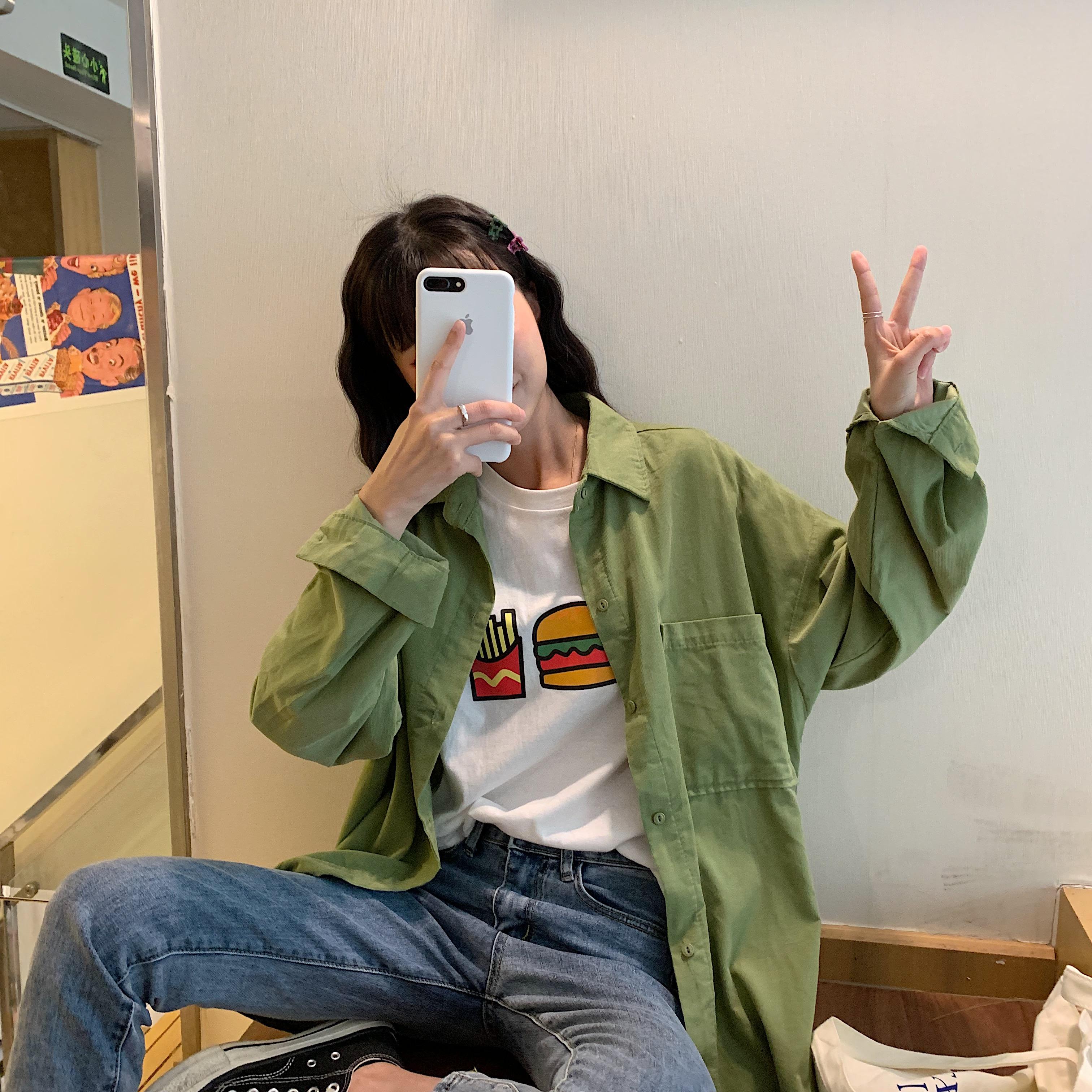 春装新款韩版纯色宽松百搭休闲中长款长袖衬衣学生衬衫女防晒外套限8000张券