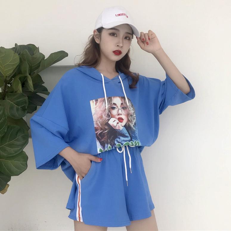 俏皮套装女2018新款时尚韩版学生短袖洋气短裤夏季显瘦时髦两件套