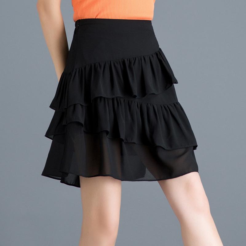 12月01日最新优惠2019新款不规则高腰雪纺女夏半身裙