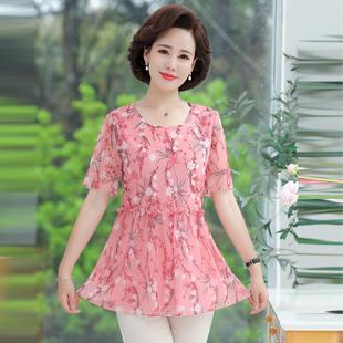 中老年女夏装雪纺衫妈妈t恤宽松大码短袖中年上衣40-50岁薄衣服