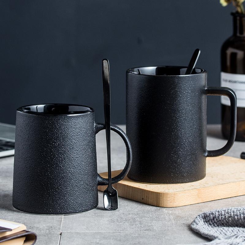 欧式磨砂个性陶瓷粗陶黑色马克杯