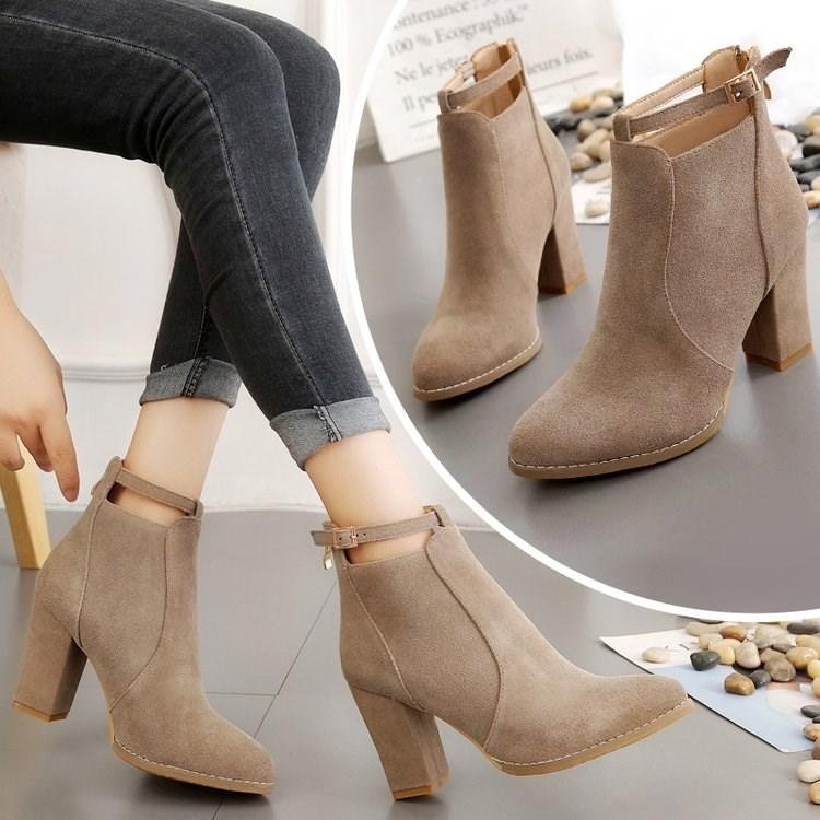 秋冬靴子女2017鞋子短靴单靴粗跟新款高跟冬天马丁靴百搭女冬裸靴