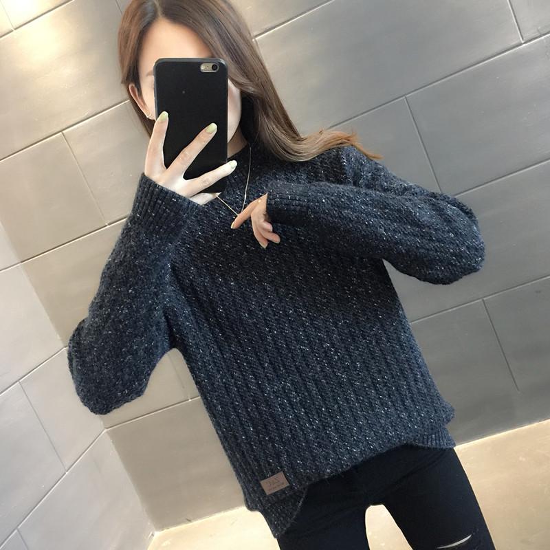 半高领毛衣女宽松外穿慵懒风加厚打底针织衫女装套头2020秋冬新款