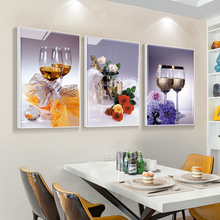 Restaurant Decoration Painting Modern Simple Triple Dining Room Hanging Painting Dining Room Background Decoration Fresco Dining Room Wall Decoration Painting