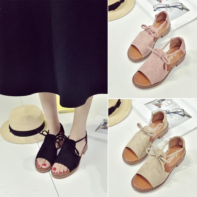 2017 лето корейская новая версия плоский участок женщины обувной толстая корка рыбий рот скольжение сандалии студент толстая дикий в среде рим обувной