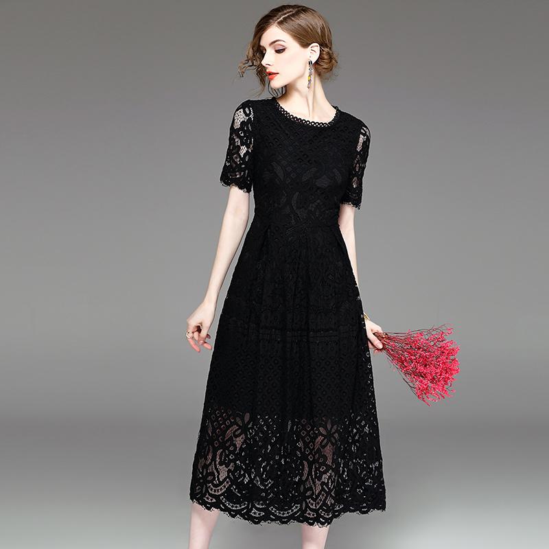2019夏季新款女装蕾丝连衣裙长款韩版时尚裙子春秋装黑色过膝长裙