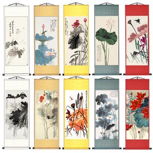 荷花蜻蜓丝绸国画卷轴挂画家居装饰古色古香送礼送老外客户礼品画
