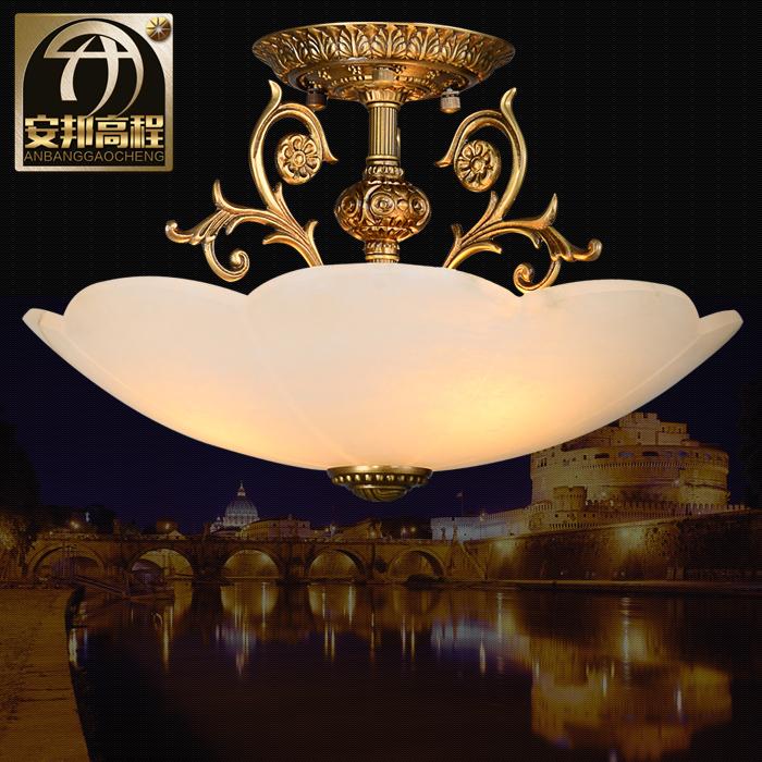 安邦高程スペイン輸入雲石照明器具ヨーロッパ式全銅半吸天井灯居間通路灯直売