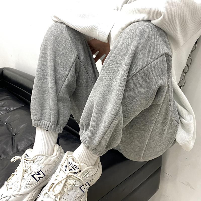 灰色运动裤女夏宽松束脚2021新款显瘦百搭小个子哈伦休闲卫裤薄款