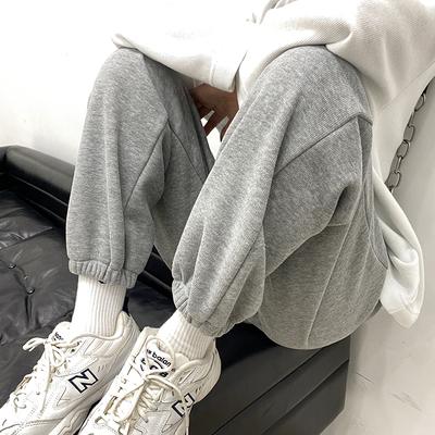 灰色运动裤女宽松束脚春秋冬2021新款显瘦百搭小个子哈伦休闲卫裤