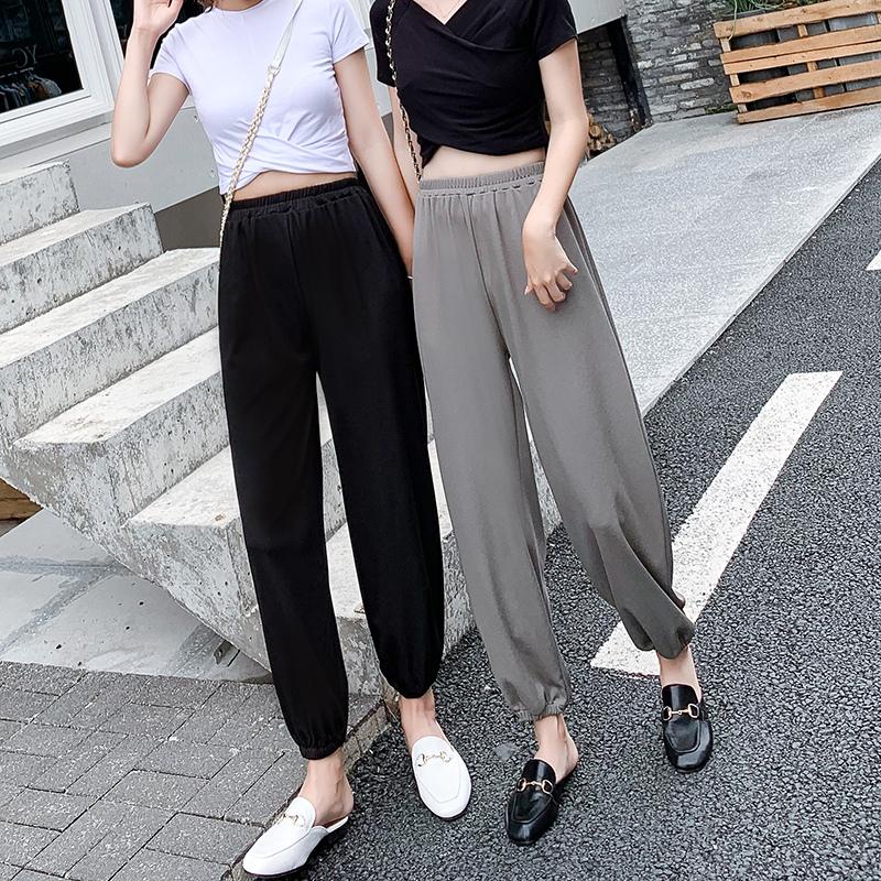 冰丝灯笼裤女夏季2020新款宽松大码高腰哈伦萝卜束脚防蚊裤子薄款