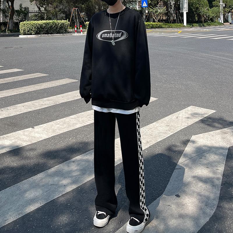黑色棋盘格子阔腿裤女春秋冬宽松直筒运动裤加绒加厚显瘦休闲卫裤