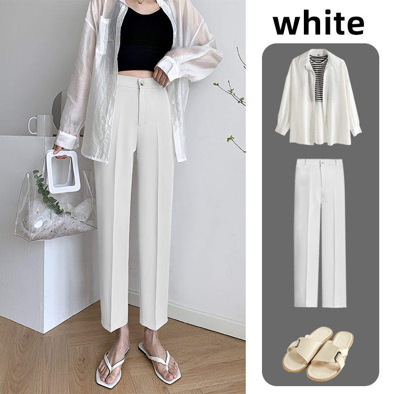 白色西装裤女夏垂感直筒宽松2021新款高腰显瘦九分小个子烟管裤子