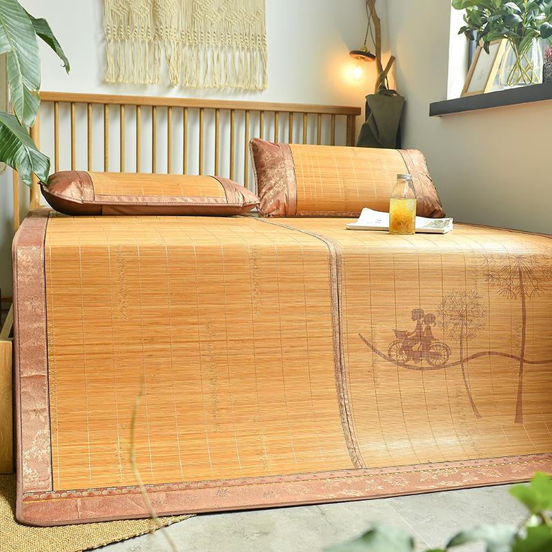 夏季凉席冰丝席1.8m床三件套1.5双面竹席可折叠学生宿舍单人席子满53元可用20元优惠券
