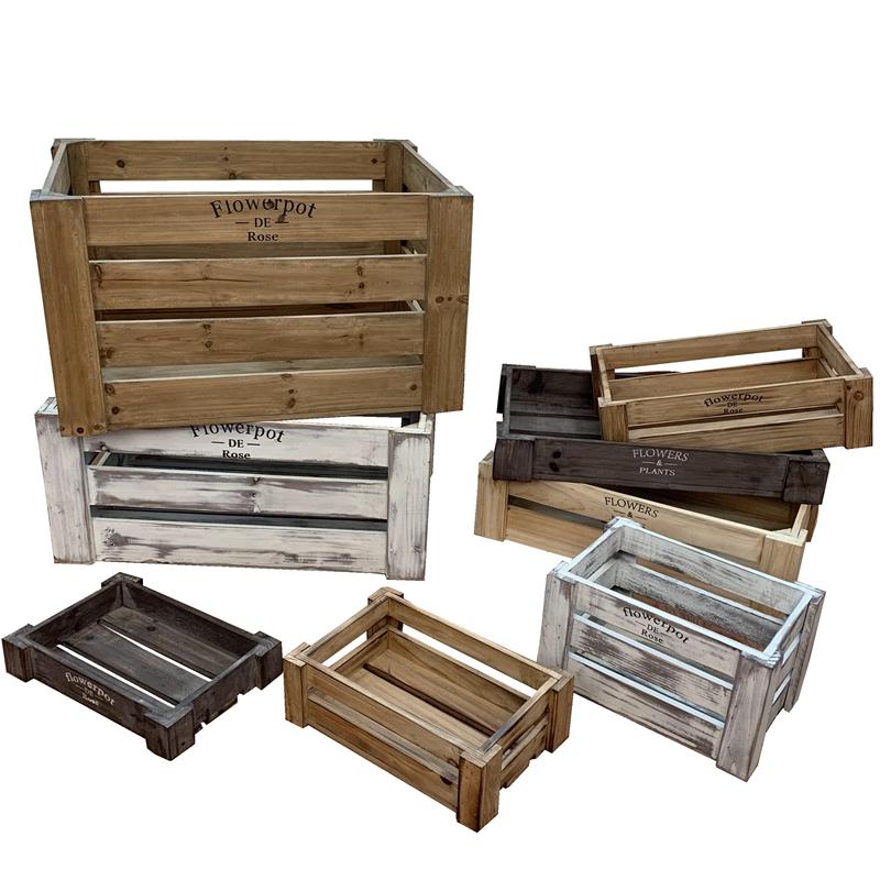 复古镂空木箱子长方形水果筐木质啤酒红酒陈列储物做旧收纳箱定制