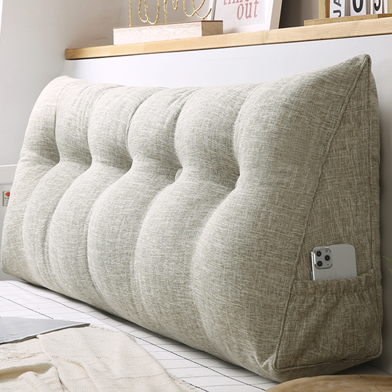 日式袋鼠口袋款棉麻三角床头大靠枕性价比高吗