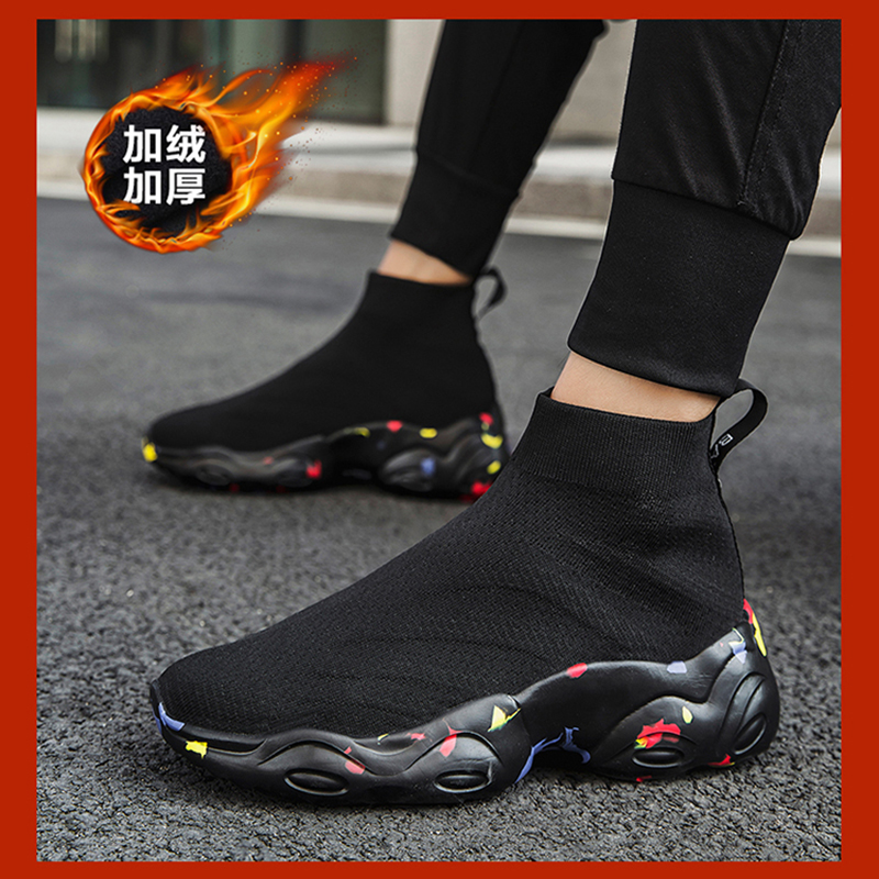 Autumn and winter high top mens shoes Plush sports casual shoes without shoelaces gaobang cotton shoes black high waist socks trendy shoes women
