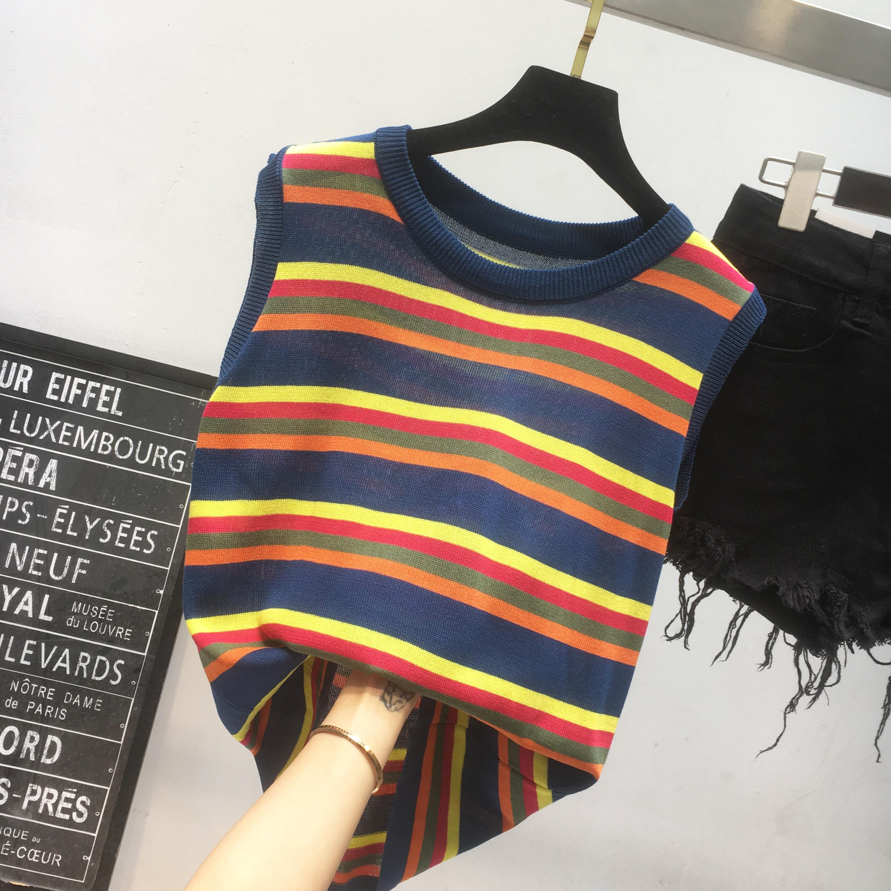 彩虹冰丝无袖背心夏上衣女学生韩版撞色条纹宽松百搭复古针织T恤