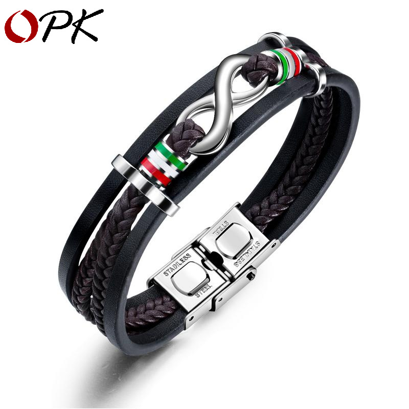 European and American retro simple leather multi-layer Bracelet titanium steel mens figure 8 Leather Bracelet personalized fashion bracelet