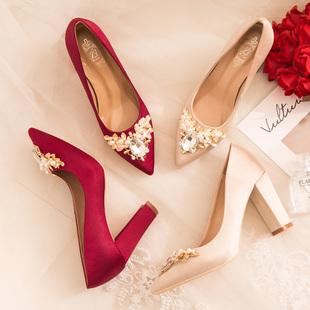 新娘鞋 婚鞋 2021新款 子防水台孕妇婚礼鞋 红色高跟 粗跟女秀禾结婚鞋