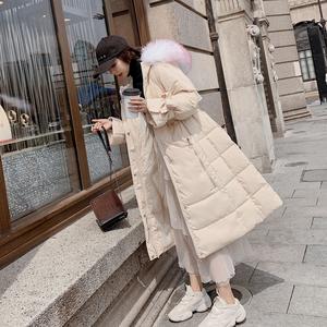 實拍2019新款寬松加厚韓國羽絨服女中長款大毛領時尚韓版外套