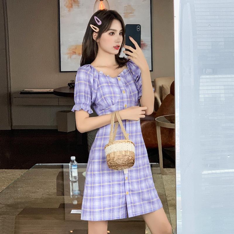 Design sense womens small plaid skirt early summer 2020 new temperament square collar princess sleeve versatile purple dress