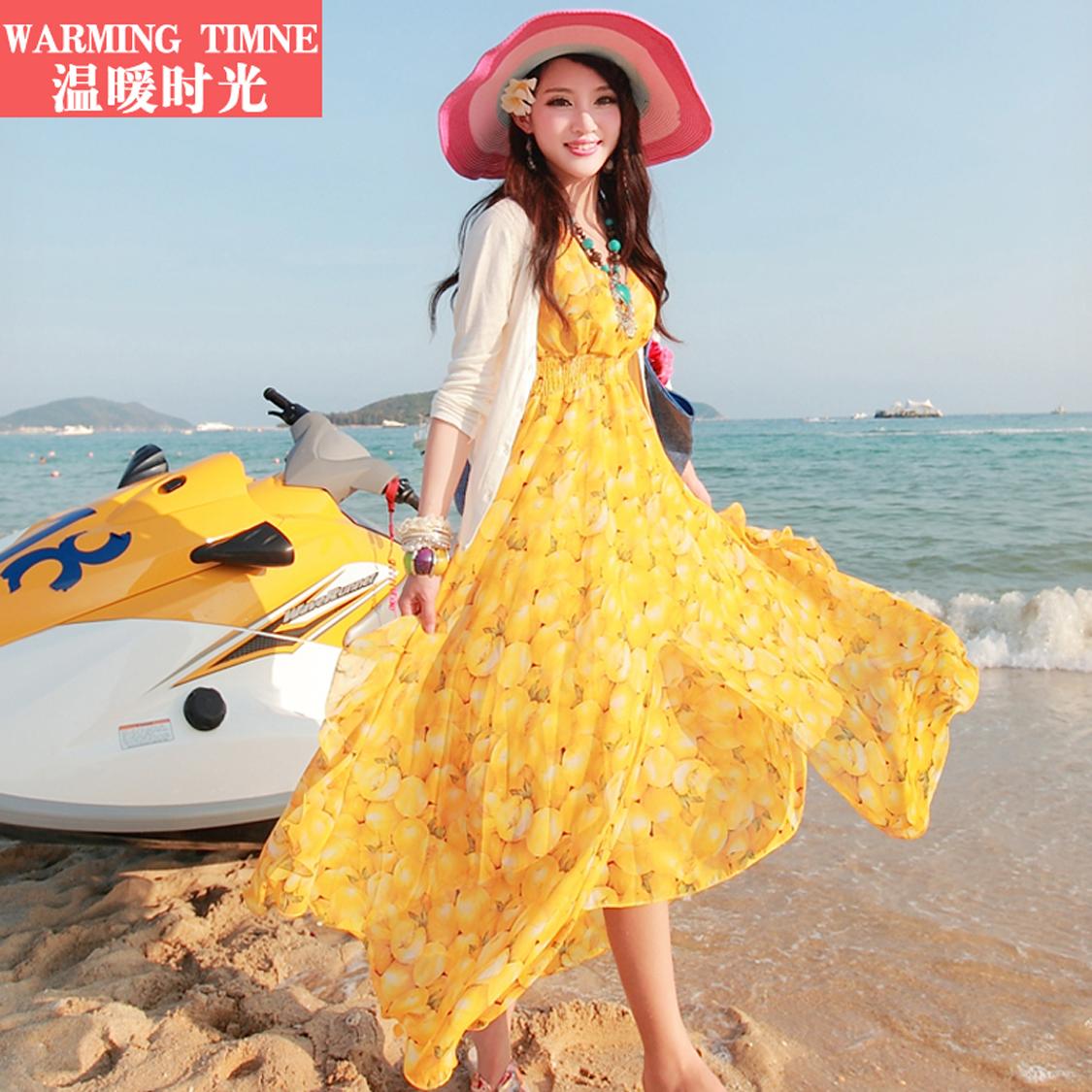 沙滩裙2020新款波西米亚长裙夏女海滩雪纺海边度假泰国旅游连衣裙