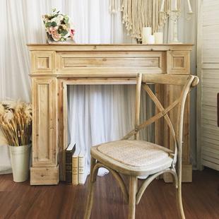 美式实木复古民宿壁炉装饰柜法式欧式简约壁炉架客厅婚礼摄影道具