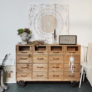 美式法式乡村复古柜子实木斗柜餐边柜做旧储物柜矮柜抽屉玄关边柜图片