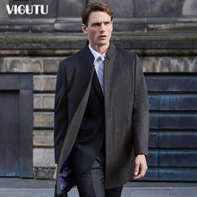 VICUTU/Victor Men's Wool Overcoat Business Leisure Grey Medium and Long Collar Fabric Coat