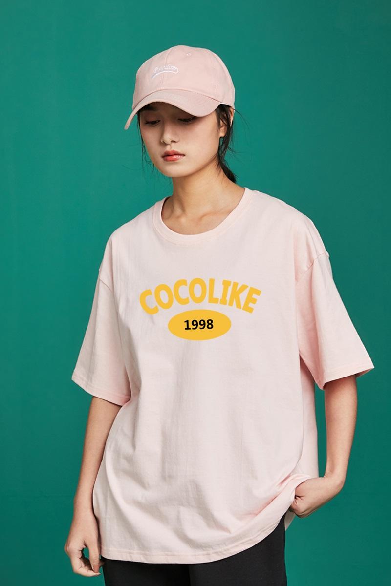 2021夏季新款宽松创意闺蜜装棉质T恤女夏中袖潮短袖港风半截袖