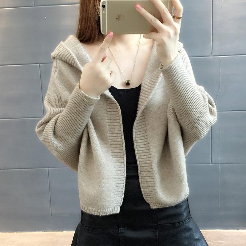 2017新款韩版潮外搭宽松秋装女连帽针织衫女开衫短款外套女毛衣