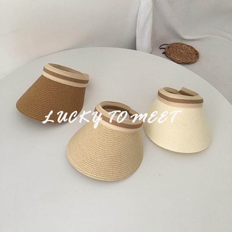帽子女夏天草帽韩版ins空顶遮阳帽百搭网红防晒紫外线沙滩太阳帽