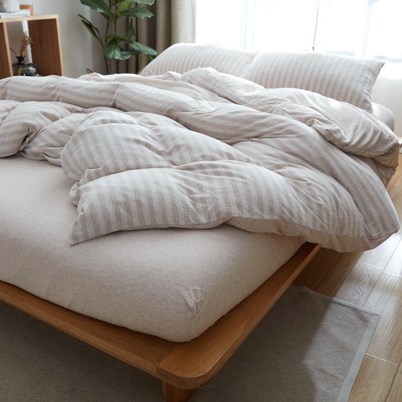 天竺棉四件套全棉大学生宿舍床上三件套纯棉床笠式床单0.9m1.0米限1000张券