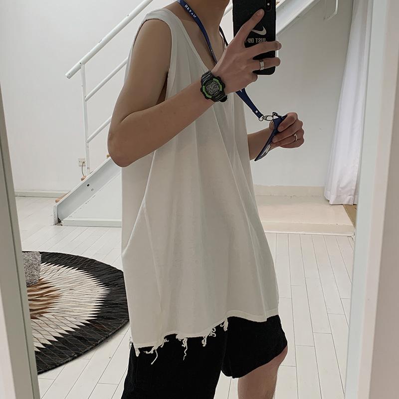 背心男潮ins港风运动男士无袖T恤外穿夏季嘻哈韩版潮流内搭打底衫