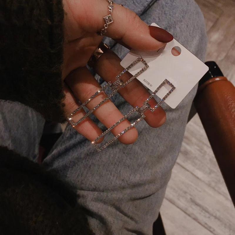 長款鋯石耳釘女韓國韓版時尚氣質簡約達人首飾品耳環2020年新款潮