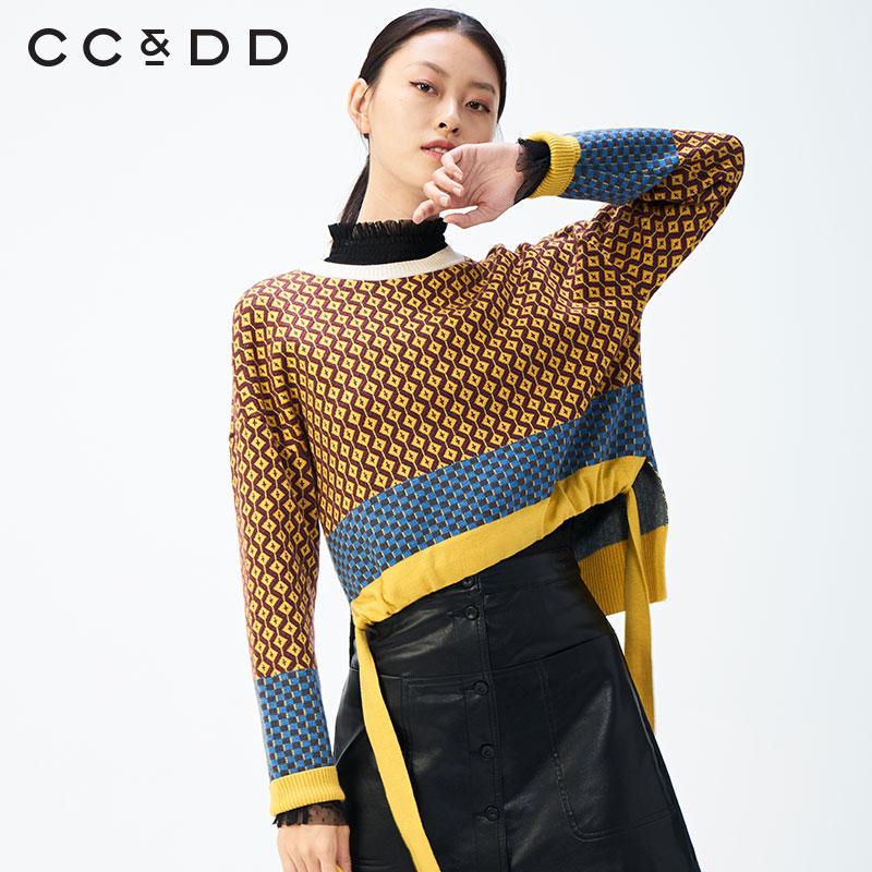 【商场同款】CCDD2020春装时尚欧美风几何图形针织提花毛衫图片
