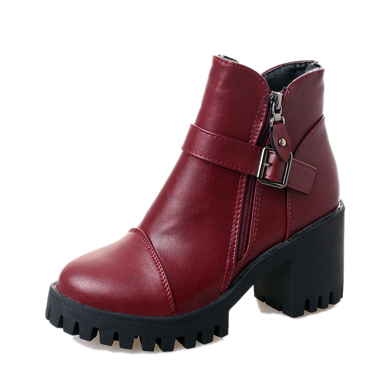 英倫風短靴馬丁靴皮靴單靴高跟靴子2016 女鞋女靴冬潮