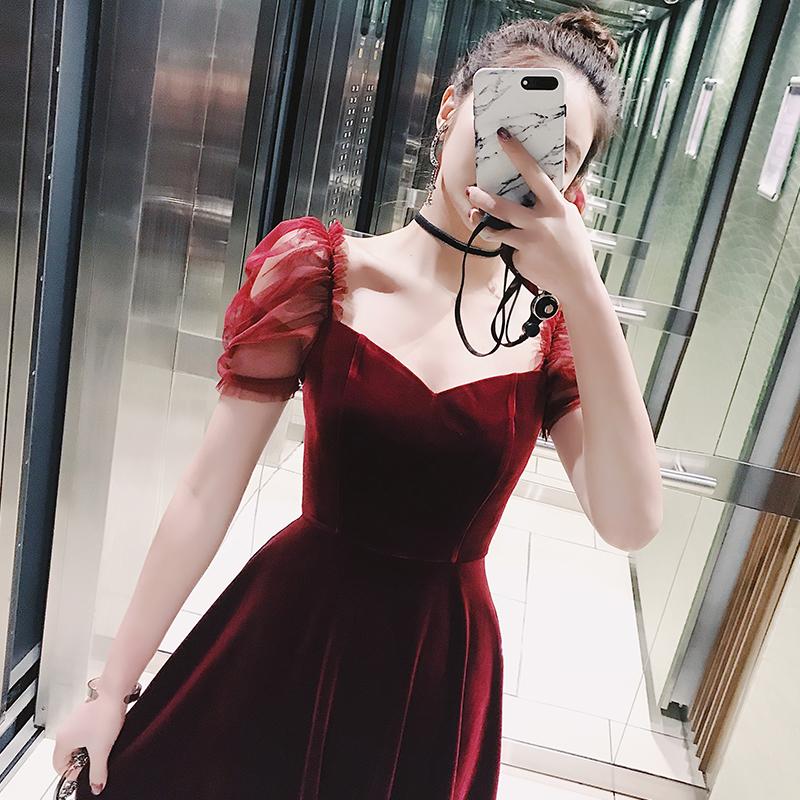 子晴 红色连衣裙女2021新款丝绒新娘敬酒服回门服伴娘服小礼服裙