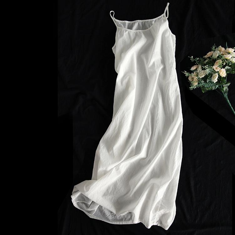 西缺文艺百搭轻薄长款纯棉吊带连衣裙女装早秋新款内搭衬裙打底裙