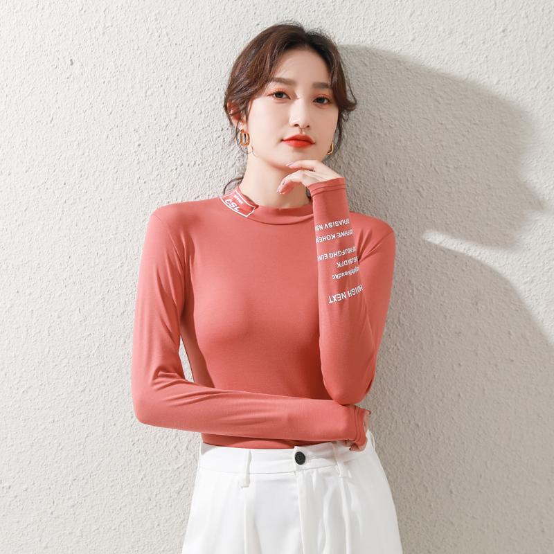 Bottomed shirt womens spring and autumn 2021 new modal half high neck with slim slim slim print versatile long sleeve T-shirt