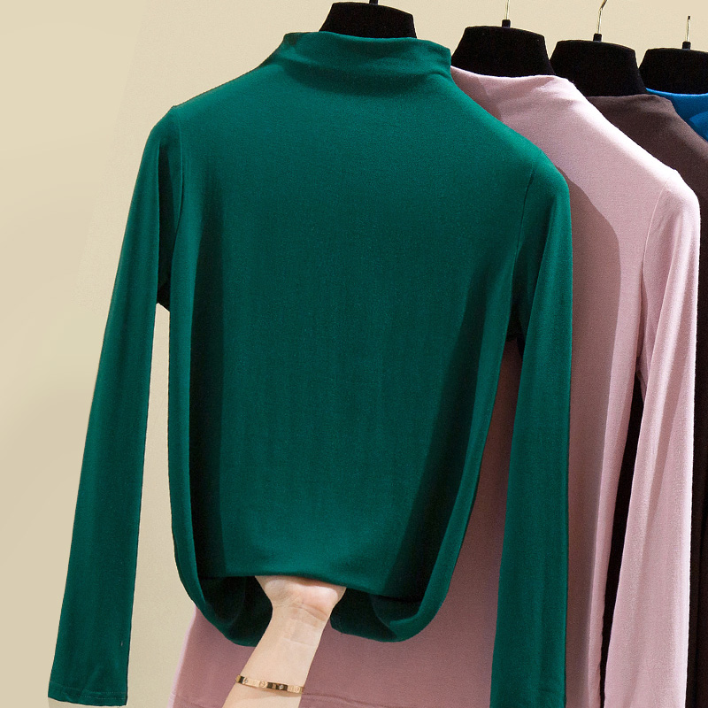 Bottomed shirt womens spring and autumn winter new clothes modal cotton semi high collar long sleeve top Korean slim fit solid color T-shirt fashion