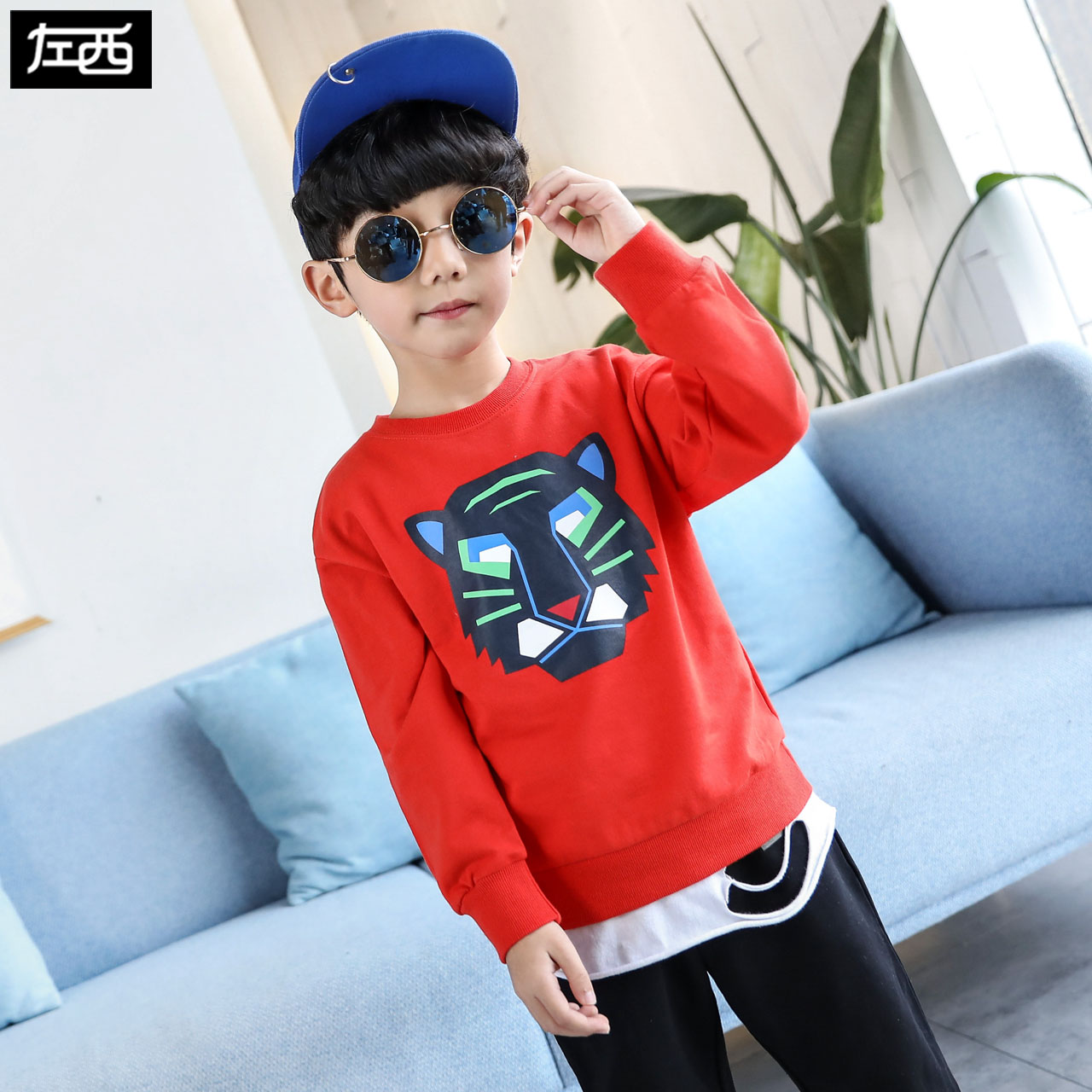 Zuoxi boys' health clothes spring clothing 2020 new children's Long Sleeve T-Shirt Top spring and autumn atmosphere in the big boy Han bianchao