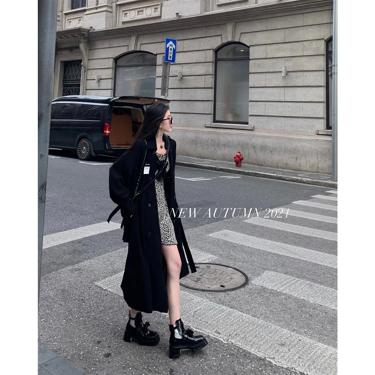 浅川酒一黑色风衣女秋季新款双排扣方领外套小个子中长款上衣2021