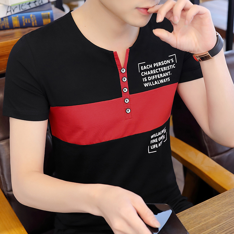 2020 mens V-neck T-shirt Korean Trend slim fitting summer short sleeve t-shirt mens young students fashion brand clothes