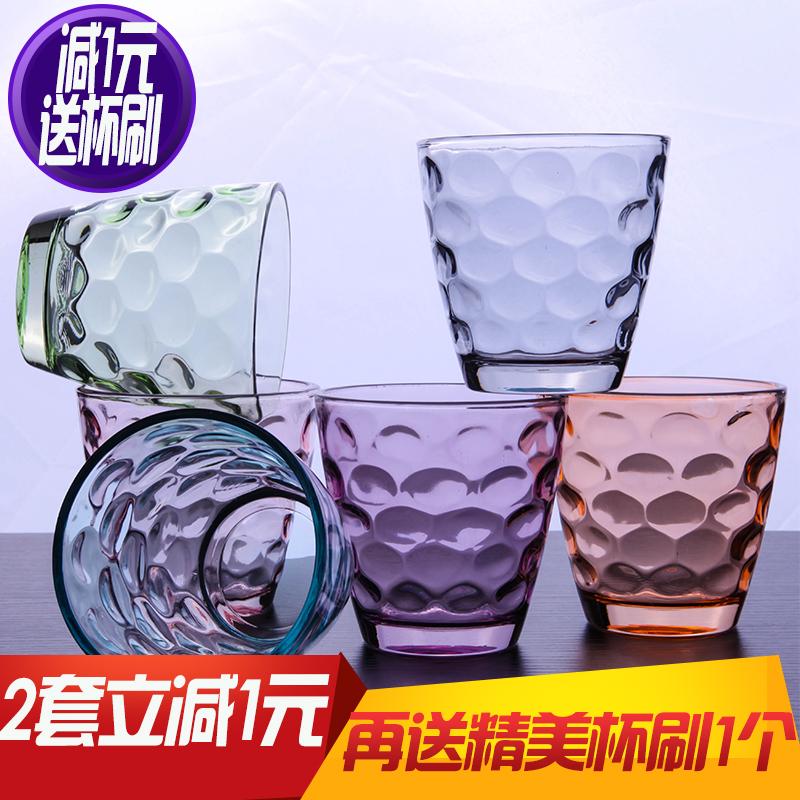彩色耐热家用水雨点杯子无铅玻璃杯套装茶杯啤酒杯果汁杯包邮水杯图片