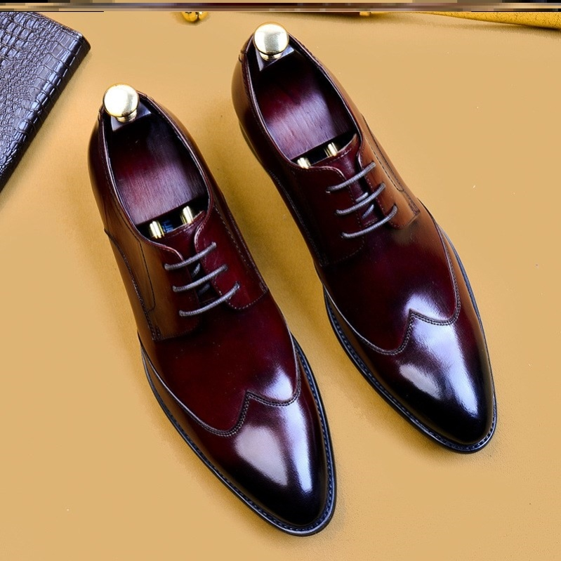 2020men shoes mens business casual shoes pointed low top British Style Mens formal single shoes wedding shoes